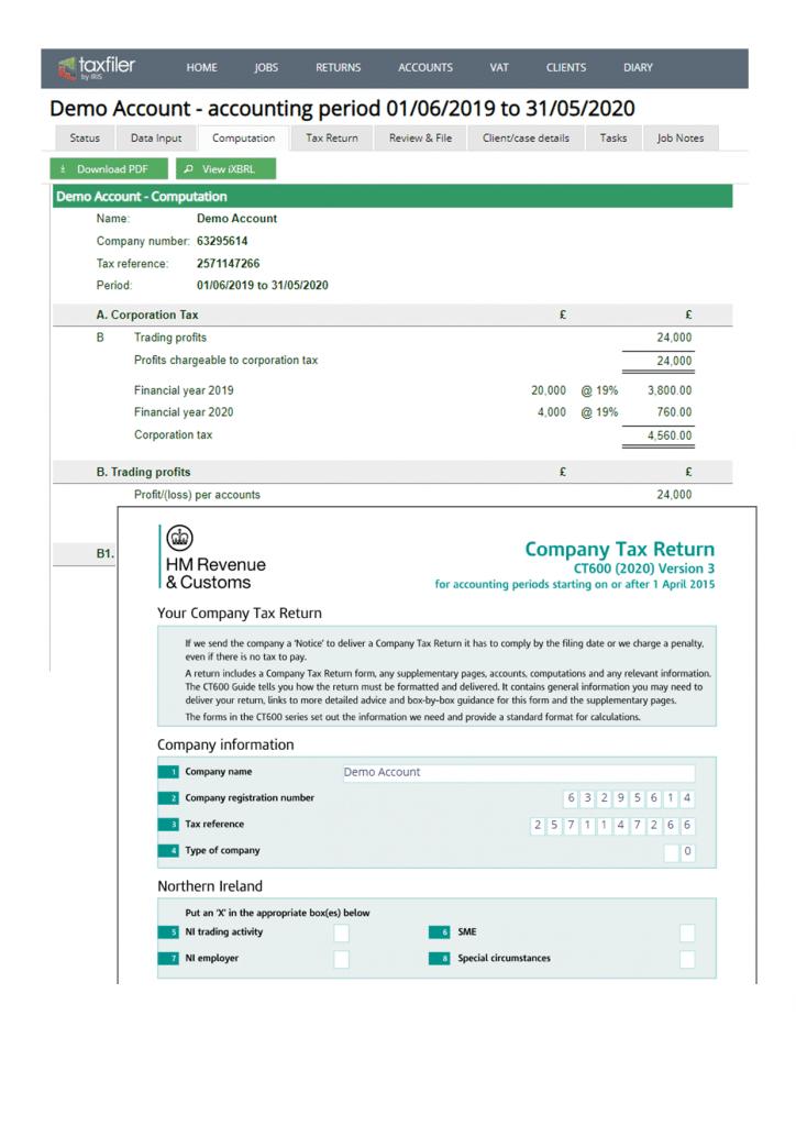 Company tax return computation