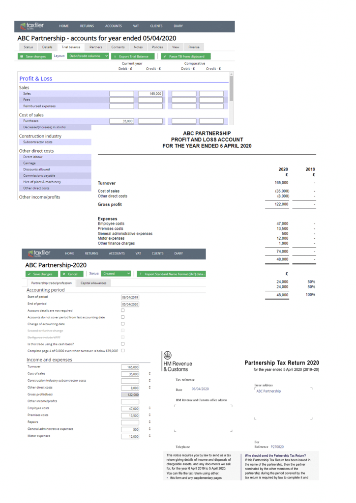 Partnership tax return calculation