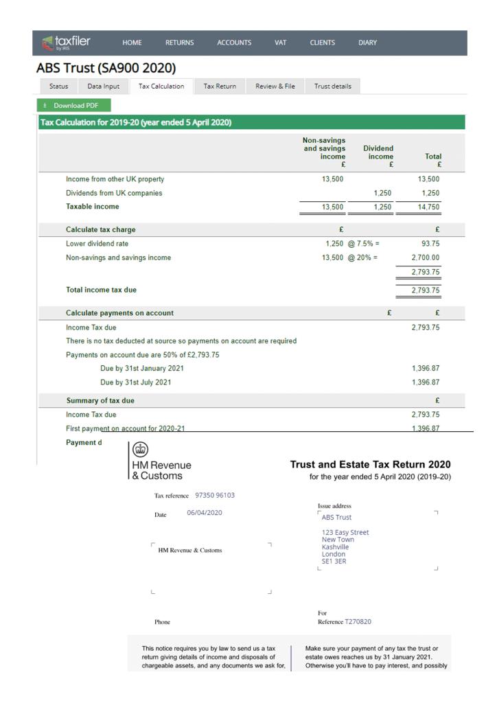 Trust and Estate tax return
