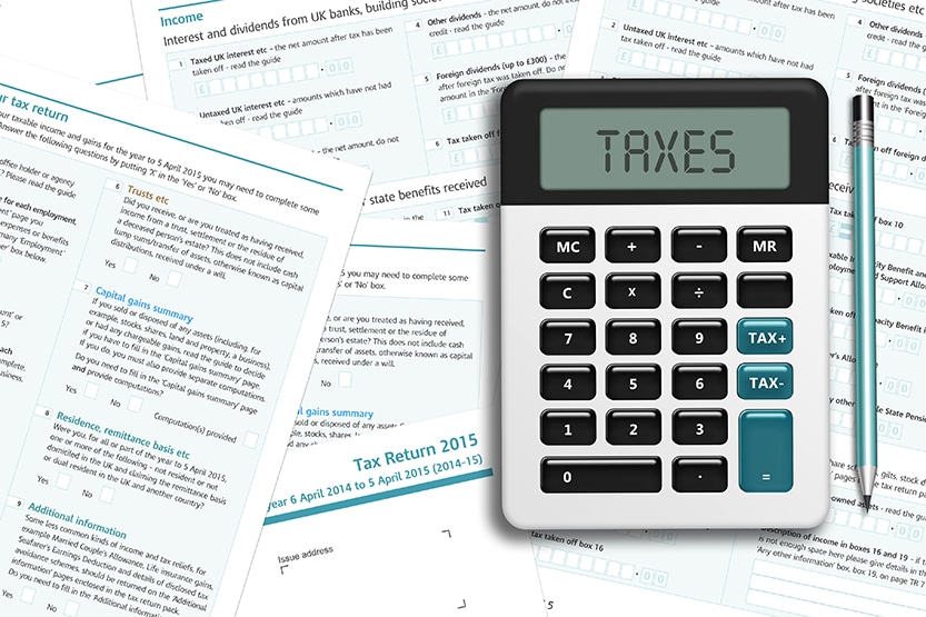 How to calculate corporation tax - Image of calculator and HMRC documents
